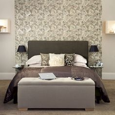 false wall/hotel style...love this bedroom look