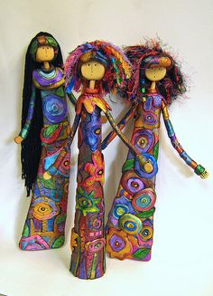 Three Muses by aMused Creations, Polymer Clay Dolls, Polymer Clay Projects, Polymer Clay Creations, Polymer Clay Jewelry, Fabric Dolls, Paper Dolls, Art Dolls, Doll Crafts, Clay Crafts