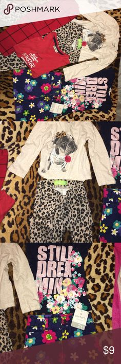 Girls 3 outfits bundle deal  Shirt with dog has a small stain on the front. All pants and tips are size 2t -3t H&M Tops