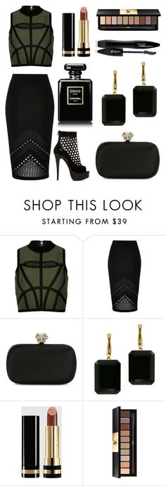 """Lady of The Night"" by jennation ❤ liked on Polyvore featuring River Island, ShoeDazzle, Alexander McQueen, Joan Hornig, Gucci, Yves Saint Laurent and Lancôme"