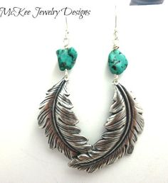 Green Turquoise chunk gemstone and Feather earrings, metal. Sterling silver jewelry. Bohemian.