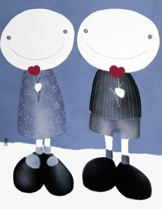 Together In Winters To Come by Mackenzie Thorpe - Contemporary Paintings & fine art pictures available in our gallery - Free delivery on all orders over Cute Illustration, Limited Edition Prints, Contemporary Paintings, Artsy Fartsy, Art Pictures, Fine Art, Cartoon, My Favorite Things, Drawings