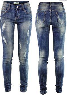 Spodnie Jeans Slim-Fit Przecierane #S003 FASHIONAVENUE.PL