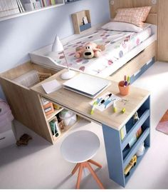 home diy furniture Smart Furniture, Space Saving Furniture, Furniture Design, Small Room Bedroom, Kids Bedroom, Bedroom Decor, Bedroom Ideas, Kids Room Design, Girl Room