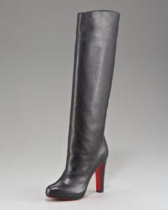 Christian Louboutin Platform Knee Boot in Black