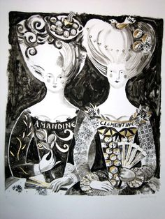 Love her work! 'Amandine and Clemantine' by British artist & printmaker Sarah Young. Monoprint with Gold leaf. via the artist's site Children's Book Illustration, Book Illustrations, Portrait Inspiration, Journal Inspiration, Pin Art, Art For Art Sake, Silk Screen Printing, Printmaking, Creations
