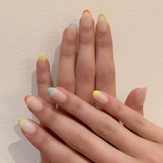 Kaia Gerber puts a colourful and festive twist on the French manicure with the help of New York nail artist Mei Kawajiri of Nails By Mei. Cute Nails, Pretty Nails, Cute Nail Polish, Nagellack Trends, Kaia Gerber, Exotic Nails, Pin On, French Tip Nails, French Manicure With A Twist