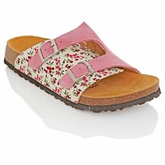 Betula Suede and Floral-Print Fabric Sandal at HSN.com