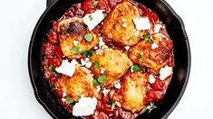 This one-pan chicken thigh recipe requires you to chop a grand total of zero vegetables. What's the shortcut? Harissa, a North African pepper sauce that brings the flavor (so you don't have to). One Pan Chicken, Chicken Thigh Recipes, How To Cook Chicken, Skillet Chicken, Greek Chicken, Keto Chicken, Bon Appetit, Feta, Just Cooking