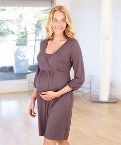 Amoralia Camicia da Notte Maternità e Allattamento Essential  -Grigio Peltro (un must per la borsa dell'ospedale) Family Nation