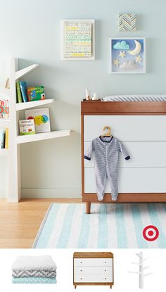 To create a sleep-friendly atmosphere in the nursery, start with the sleek Babyletto changing table and bookshelf. Then add some adorable bedtime-themed artwork to the wall.