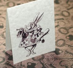 Alice in Wonderland, Looking Very Vintage...  Set of 12 sepia-toned folded notecards / envelopes.  >> Love Alice!    from time2cre8too