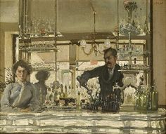 Ambrose Patterson (1877-1967) - The Pewter Bar, St. Leger en Yvelines. Ambrose McCarthy Patterson was a painter and printmaker born in Daylesford, Australia. He studied the Melbourne Art School at the National Gallery Art School in Melbourne and continued his studies in Paris at the Académie Colarossi and the Académie Julian under Lucien Simon, André Lhote and Maxime Maufra and later, John Singer Sargent.