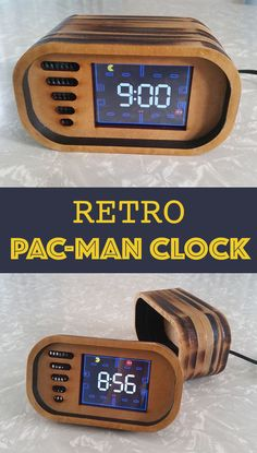 Interactive Pac-Man bedside clock, with a touch screen, and animated Pac-Man figures.