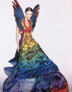 MISHA'S BLUE: Fashion Friday Photo : Alexander McQueen Parrot Dress 2008