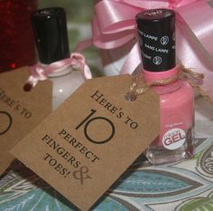 Baby Shower Favors, Baby Shower Tags, Nail Polish Tags, 35 Tags
