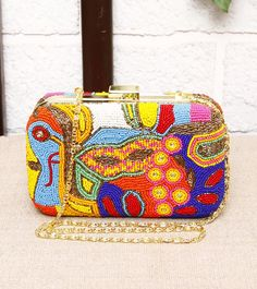 FALAH - Multicoloured Bead Embellished Metal Clutch Click on the photo to shop it! :)