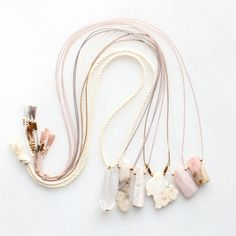 Rope and silk necklaces with quartz, opal and magnesite
