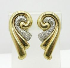 Pave Rhinestone Earrings, Vintage Gold Tone Curved Clip-ons, Bridal Jewelry