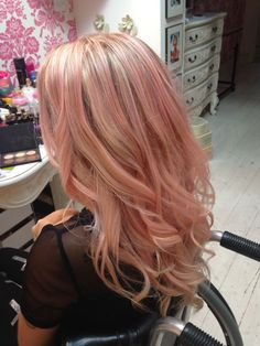 Rose Gold Hair Color with Blonde Highlights