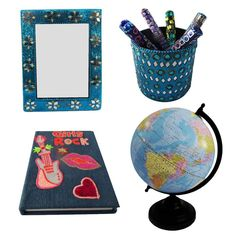 """Christmas Gift Lot Globe, Photo Frame, Pen Pot, Diary Decorative Material Mdf Lac Handmade Table Topper Home Décor Multicolor Set of 4 Pcs. Beautiful Handmade gift lot which include Globe, Diary, Pen Pot and Photo Frame. This ethnic gift lot combine traditional with a modern design, a great accessory for traditional touch. Material, Size and Color- Globe : Material-Plastic and Iron, Size-Stand -11.5"""" and Plastic Ball-8"""" Inches, Color-Blue Diary : Material-Satin and Lac, Size-Length - 6"""" x..."""
