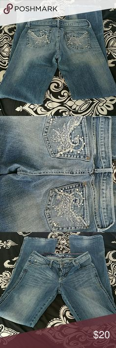 Rock by Wrangler These pants are in good condition, two little studs are missing but you can't tell! 5/6 with 36 in inseam! Wrangler Jeans Boot Cut