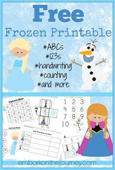 Free Frozen Printable Pack | embarkonthejourney.com
