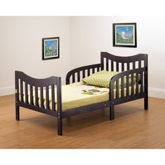 Gorgeous Orbelle Slumberland Convertible Toddler Bed Offers Solid Wood Construction in Cool Espresso Finish For Toddler Boys Room. #ToddlerBed #Furniture #Netnoot