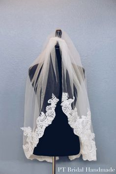 Handmade Lace Bridal Veil-One Layer Lace Bridal Veil-Off White Bridal Veil (Veil #6