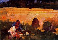 Cecilio Pla y Gallardo Jugando hand painted oil painting reproduction on canvas by artist Impressionist Artists, Oil Painting Reproductions, Hand Painted, Canvas, Spanish, Products, Artists, Art, Bridge