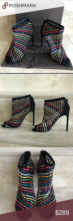 Gucci shoes Brand new leather and suede woven leather open toe ankle it in box , dust bag perfect gucci Shoes Heels