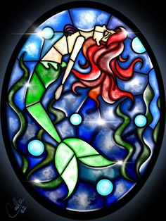 Stained Glass Ariel by CallieClara on DeviantArt #StainedGlassMermaid