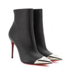 Christian Louboutin - Calamijane 100 leather ankle boots #shoes #christianlouboutin #designer #covetme