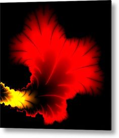 Red and yellow Fractal leaf Metal Print for sale. Abstract art with vibrant colors, black background. Square format. The image gets printed directly onto a sheet of aluminum. Metal prints are extremely durable and lightweight. The high gloss of the aluminum complements the rich colors of the image. Matthias Hauser - Art for your Home Decor and Interior Design.