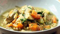 Herby artichoke casserole with flageolet beans