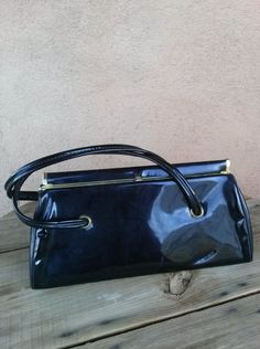 Vintage 1960s Handbag Black Patent Leather Purse Vegan 201646 - pinned by pin4etsy.com