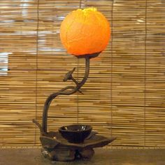 Mulberry Rice Paper Ball Handmade Twig Leaf Flower Bud Design Art Shade Yellow Round Globe Lantern Brown Asian Oriental Decorative Accent Bedside Rustic Mini Table Lamp by Antique Alive, http://www.amazon.com/dp/B004WSJQ7O/ref=cm_sw_r_pi_dp_EIEHqb12GXPSW