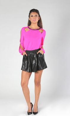 Hot Pink Cutout Long Sleeve Top #metallic #chain #partytop