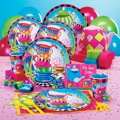 Celebrate your kid's birthday in style with Topsy Turvy Tea Party Supplies! Your little girl will love partying with these Tea Party supplies which feature colorful teacups and saucers piled high along with fanciful teapots. This theme is perfect for kids who love tea parties!