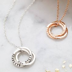 Personalised Russian Ring Necklace. Our most popular personalisations include: names and dates of birth of children, names of newlyweds and the date of their special day, or any other personal sentiments that are special to you or the recipient of this lovely necklace.