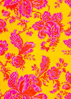 sisboom.com floral pattern pink on yellow