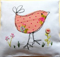 Lavender bag, free machine embroidery bird and hand embroidered flowers. Free motion embroidery.