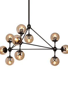 Generic Modern Dimmable Modo Chandelier 10 Lights SemiFlush Mounted Black Paiting Amber Glass for Living Room Loft Light  110120v J1980 * Click image to review more details. (Note:Amazon affiliate link)