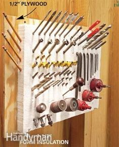 Store router bits, drill bits, screwdrivers, awls, pencils in a chunk of 1-1/2-in.-thick rigid foam insulation.  glue the foam to 1/2- in. plywood sized an inch wider than the foam.  Then press the foam into place and let it dry for a few hours.