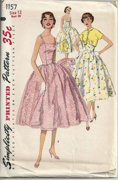 1950s Misses Sundress Spaghetti Straps Strapless Full Skirt Short Bolero Jacket Simplicity 1157 Bust 30 Uncut Womens Vintage Sewing Pattern