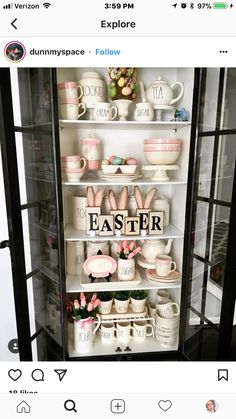 Seasonal Celebration, Second Hand Stores, Easter Holidays, Easter Crafts, Easter Decor, Tray Decor, Easter Baskets, China Cabinet, Spring Decorations