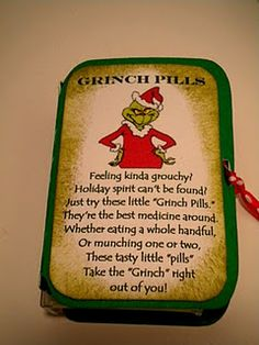 Holiday spirit can't be found? Just try these little grinch pills. Whether eating a whole handful, or munching one or two, these tasty pills take the grinch right out of you! Grinch Christmas, Diy Christmas Gifts, All Things Christmas, Christmas Humor, Winter Christmas, Holiday Gifts, Christmas Holidays, Christmas Ideas, Christmas Shopping