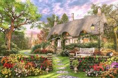 Church lane Cottage - cottage, scenic, church, flowers