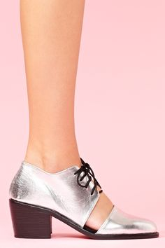 Split Brogue Boot - Silver by Shakuhachi. $298