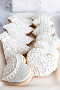 White decorated cookies - Love the lace!!